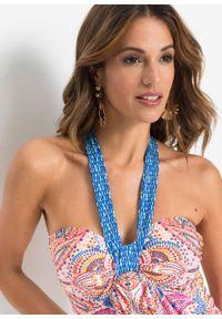Sukienka z dekoltem halter bonprix jasnoróżowo-niebieski paisley. Typ kołnierza: dekolt halter. Kolor: różowy. Długość rękawa: na ramiączkach. Wzór: paisley. Sezon: lato