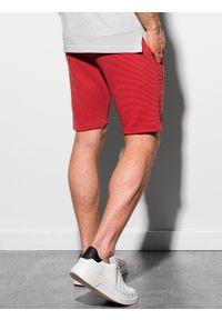 Ombre Clothing - Krótkie spodenki męskie dresowe W294 - czerwone - XXL. Kolor: czerwony. Materiał: dresówka. Długość: krótkie. Styl: klasyczny, sportowy #4
