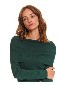 TOP SECRET - Sweter golf długi rękaw damski luźny. Typ kołnierza: golf. Kolor: zielony. Materiał: materiał. Długość rękawa: długi rękaw. Długość: długie. Wzór: aplikacja. Sezon: jesień, zima