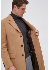 TOMMY HILFIGER - Tommy Hilfiger - Płaszcz wełniany. Okazja: na co dzień. Kolor: beżowy. Materiał: wełna. Wzór: gładki. Styl: klasyczny, casual