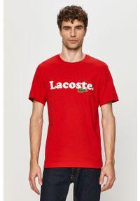 Czerwony t-shirt Lacoste z aplikacjami