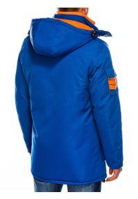Niebieska kurtka Ombre Clothing na zimę, z kapturem