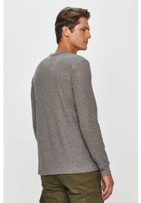 Szara koszulka z długim rękawem Calvin Klein casualowa, z okrągłym kołnierzem, na co dzień