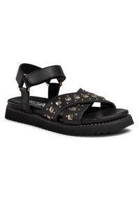 Czarne sandały Patrizia Pepe casualowe, na co dzień, z aplikacjami