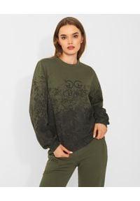 CHAOS BY MARTA BOLIGLOVA - Bluza khaki z bawełny DIRTY. Typ kołnierza: kaptur. Kolor: zielony. Materiał: bawełna. Wzór: haft