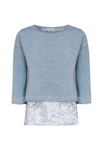 Deha - Bluza DEHA EASY. Materiał: bawełna, jedwab, tkanina. Wzór: kwiaty, aplikacja, nadruk