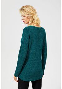 Zielony sweter MOODO z klasycznym kołnierzykiem, z długim rękawem