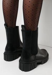Born2be - Czarne Botki Hellameia. Zapięcie: bez zapięcia. Kolor: czarny. Materiał: jeans. Obcas: na platformie. Styl: klasyczny