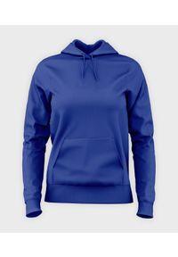 MegaKoszulki - Damska bluza z kapturem (bez nadruku, gładka) - niebieska. Typ kołnierza: kaptur. Kolor: niebieski. Wzór: gładki