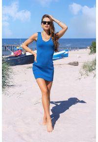 Merribel - Dopasowana Krótka Sukienka z Koronką - Niebieska. Kolor: niebieski. Materiał: koronka. Wzór: koronka. Długość: mini