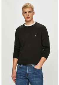 Czarny sweter TOMMY HILFIGER długi, z długim rękawem, gładki, na co dzień