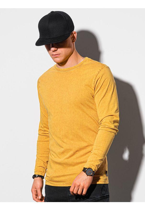 Ombre Clothing - Longsleeve męski bez nadruku L131 - musztardowy - XXL. Kolor: żółty. Materiał: bawełna. Długość rękawa: długi rękaw