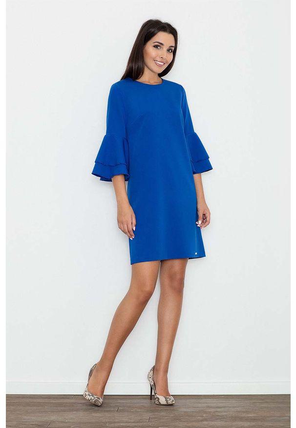 Figl - Niebieska Elegancka Sukienka z Hiszpańskim Rękawem. Kolor: niebieski. Materiał: wiskoza, poliester. Styl: elegancki