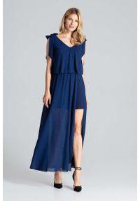 Niebieska sukienka wizytowa Figl maxi