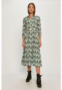 Wielokolorowa sukienka Pinko z długim rękawem, rozkloszowana, midi