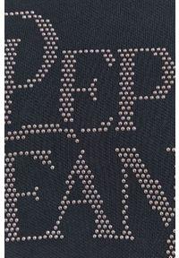 Pepe Jeans - Bluza bawełniana Evita. Okazja: na co dzień. Kolor: szary. Materiał: bawełna. Długość rękawa: długi rękaw. Długość: długie. Wzór: aplikacja. Styl: casual
