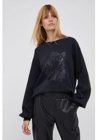 Mos Mosh - Bluza. Kolor: czarny. Materiał: bawełna, dzianina. Długość rękawa: długi rękaw. Długość: długie. Wzór: nadruk