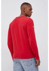 Superdry - Longsleeve bawełniany. Okazja: na co dzień. Kolor: czerwony. Materiał: bawełna. Długość rękawa: długi rękaw. Wzór: aplikacja. Styl: casual