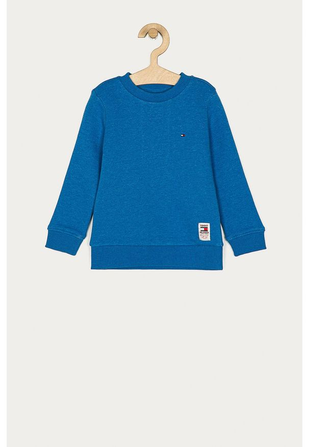 Niebieska bluza TOMMY HILFIGER casualowa, z aplikacjami, na co dzień, bez kaptura