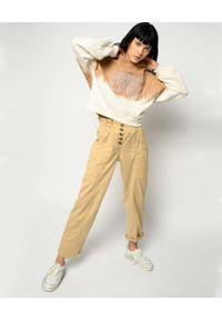Pinko - PINKO - Beżowe spodnie z wysokim stanem i ozdobną klamrą Botanica. Stan: podwyższony. Kolor: beżowy. Materiał: tkanina. Wzór: aplikacja