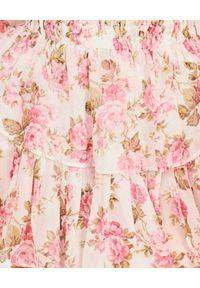 LOVE SHACK FANCY - Sukienka z jedwabiu Popover. Okazja: na wesele, na ślub cywilny, na spacer. Kolor: beżowy. Materiał: jedwab. Wzór: kwiaty, aplikacja. Sezon: lato. Długość: mini