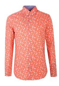 TOP SECRET - Koszula z lekkiej tkaniny dopasowana. Okazja: na co dzień. Kolor: różowy. Materiał: tkanina. Długość rękawa: krótki rękaw. Długość: długie. Sezon: wiosna, lato. Styl: casual, elegancki