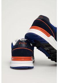 Niebieskie sneakersy Polo Ralph Lauren na sznurówki, z cholewką, z okrągłym noskiem