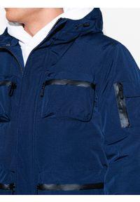 Niebieska kurtka Ombre Clothing na zimę, z aplikacjami