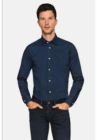 Lancerto - Koszula Granatowa z Nadrukiem Gianna. Kolor: niebieski. Materiał: jeans, bawełna, wełna, tkanina, włókno. Wzór: nadruk