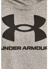 Szara bluza Under Armour gładkie, raglanowy rękaw, z kapturem