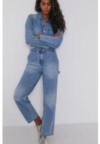 Billabong - Kombinezon jeansowy x Wrangler. Okazja: na co dzień. Kolor: niebieski. Materiał: jeans. Długość rękawa: długi rękaw. Długość: długie. Wzór: gładki. Styl: casual
