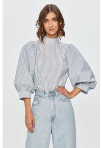 Niebieska bluzka Levi's® biznesowa, krótka, na spotkanie biznesowe, ze stójką