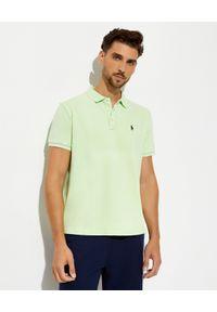 Ralph Lauren - RALPH LAUREN - Zielona koszulka polo. Typ kołnierza: polo. Kolor: zielony. Materiał: bawełna, prążkowany. Wzór: haft. Styl: klasyczny
