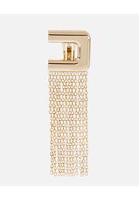 Elisabetta Franchi - ELISABETTA FRANCHI - Wiszące kolczyki z logo. Materiał: złote. Kolor: złoty #2