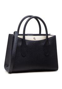 Niebieska torebka klasyczna Lauren Ralph Lauren skórzana