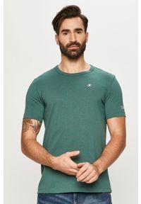 Champion - T-shirt. Okazja: na co dzień. Kolor: turkusowy. Materiał: dzianina. Wzór: aplikacja. Styl: casual