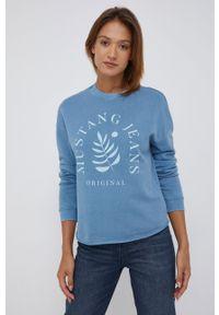 Mustang - Bluza bawełniana. Kolor: fioletowy. Materiał: bawełna. Wzór: nadruk