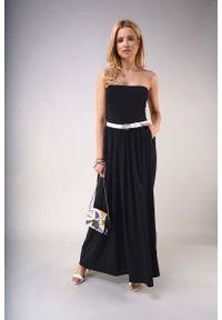 Nommo - Czarna Maxi Sukienka z Odkrytymi Ramionami. Kolor: czarny. Materiał: bawełna, poliester. Typ sukienki: z odkrytymi ramionami. Długość: maxi
