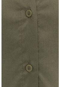 Jacqueline de Yong - Koszula. Okazja: na co dzień. Kolor: zielony. Materiał: bawełna, tkanina. Długość: długie. Wzór: gładki. Styl: casual