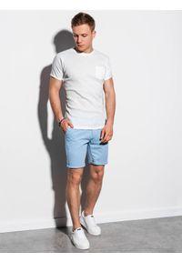 Ombre Clothing - T-shirt męski bez nadruku S1182 - biały - XXL. Kolor: biały. Materiał: bawełna, tkanina, poliester. Styl: klasyczny