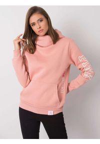 e-margeritka - Bluza damska długa ciepła z kapturem różowa - 42. Typ kołnierza: kaptur. Kolor: różowy. Materiał: bawełna, dzianina, materiał, poliester. Długość: długie