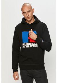 Czarna bluza nierozpinana Russell Athletic z nadrukiem, casualowa, z kapturem