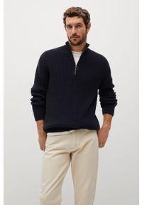 Niebieski sweter Mango Man krótki, na co dzień, casualowy