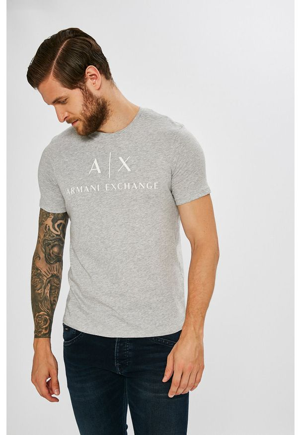 Szary t-shirt Armani Exchange casualowy, na co dzień, z nadrukiem
