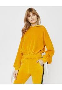 JOANNA MUZYK - Bluza z kapturem. Typ kołnierza: kaptur. Kolor: żółty. Materiał: dresówka, bawełna, materiał. Długość rękawa: długi rękaw. Długość: długie. Wzór: aplikacja