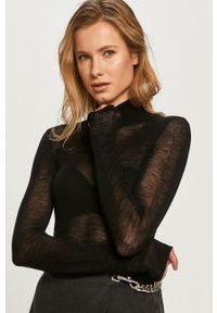 Czarny sweter Miss Sixty długi, klasyczny, z golfem, z długim rękawem