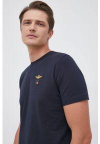 Aeronautica Militare - T-shirt. Okazja: na co dzień. Kolor: niebieski. Materiał: dzianina. Wzór: gładki, aplikacja. Styl: casual