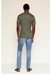 Zielony t-shirt Mango Man casualowy, na co dzień