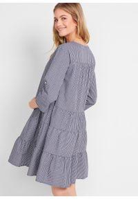 Niebieska sukienka bonprix moda ciążowa, w paski