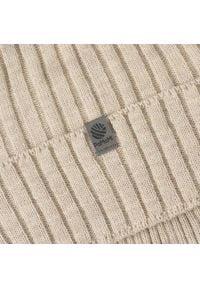 Czapka męska z wywinięciem PaMaMi - Beżowy. Kolor: beżowy. Materiał: akryl. Wzór: prążki. Sezon: wiosna, jesień. Styl: klasyczny #3